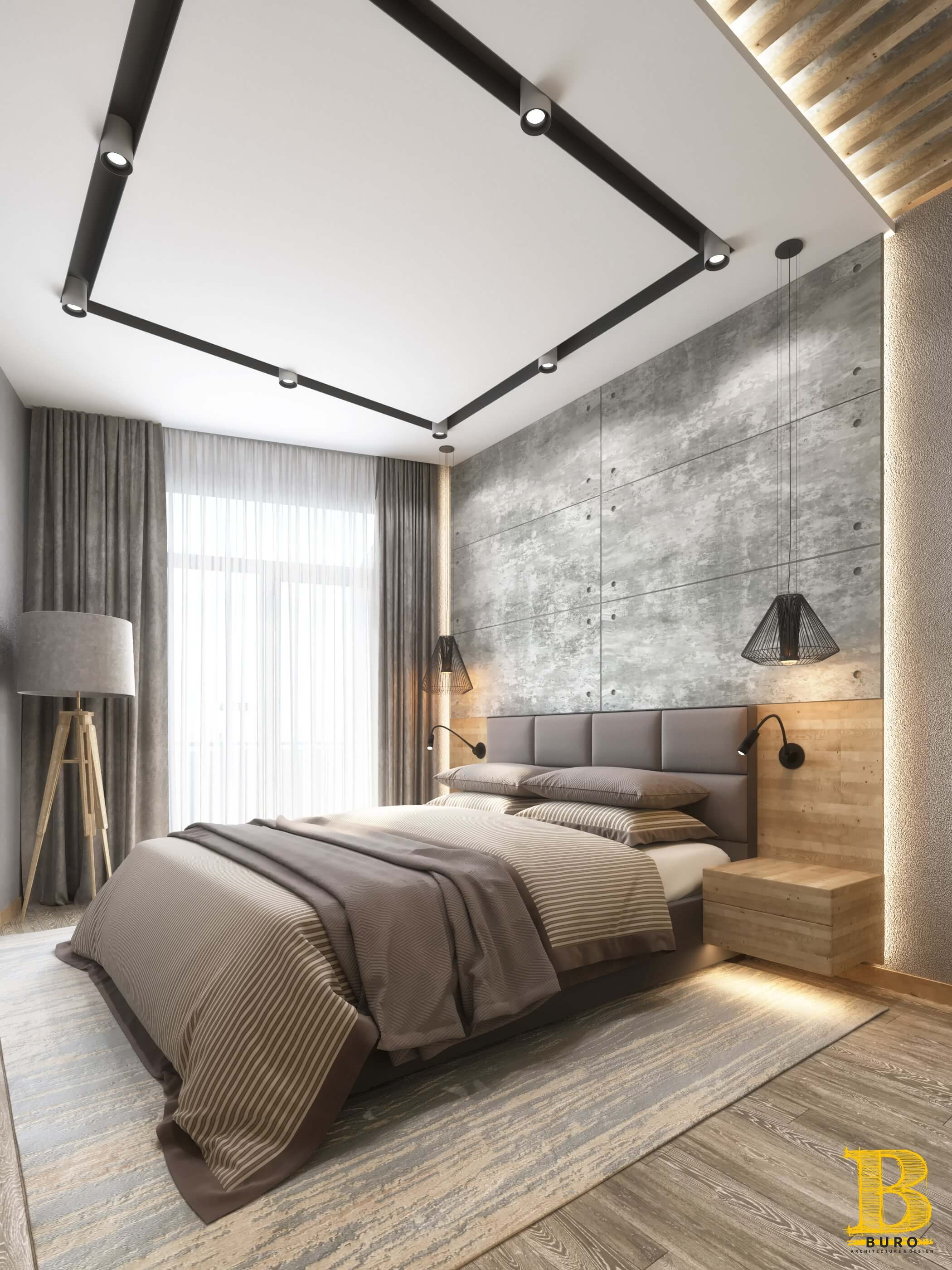 3D визуализация дизайна спальни в лофт стиле ЖК Миконос Одесса