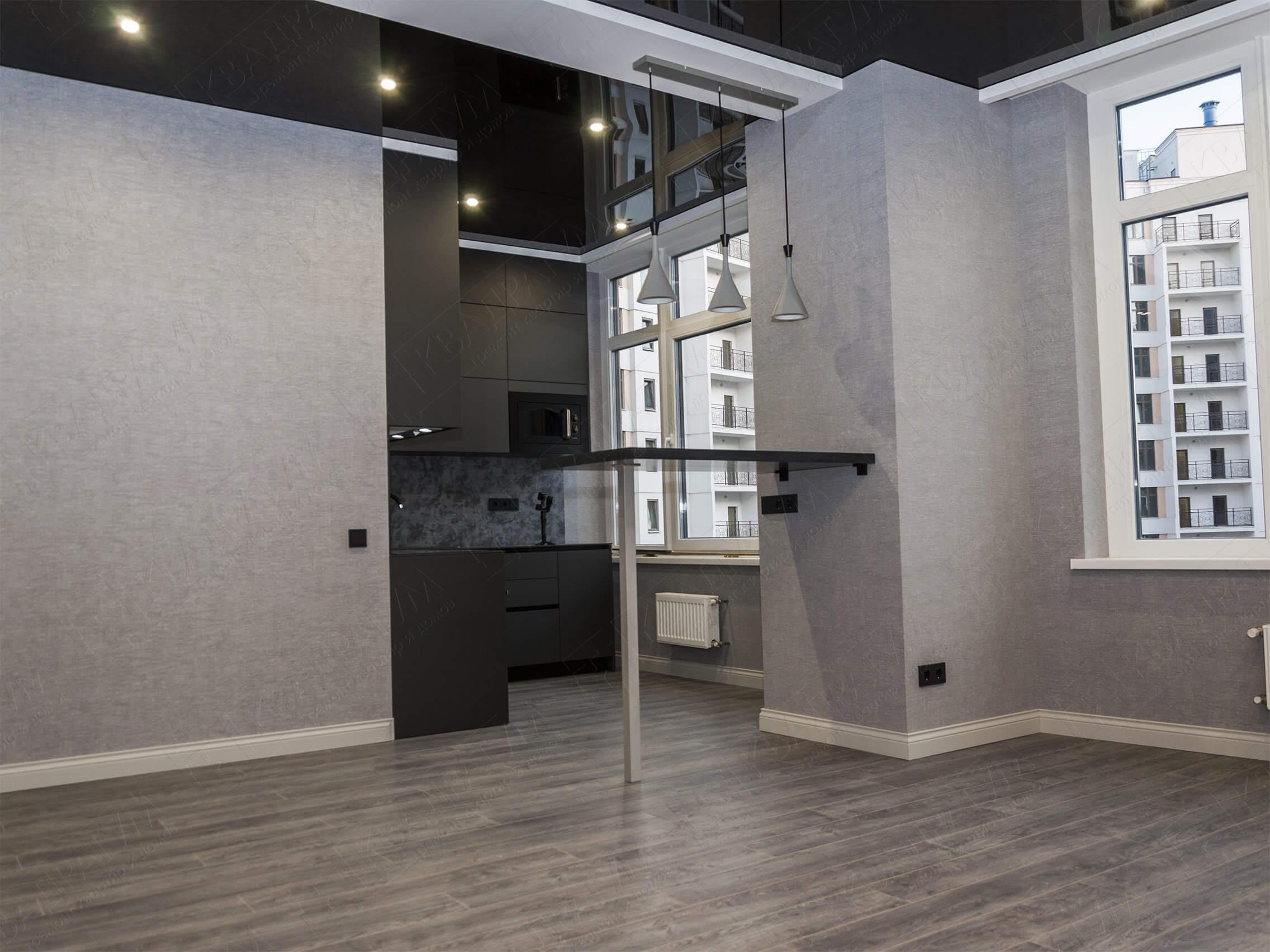 Кухня-студия после ремонта квартиры под сдачу 32-я Жемчужина Одесса